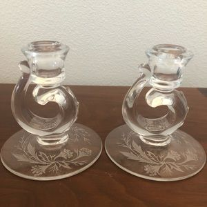 Pair Clear Etched Swirl Depression Candle Sticks